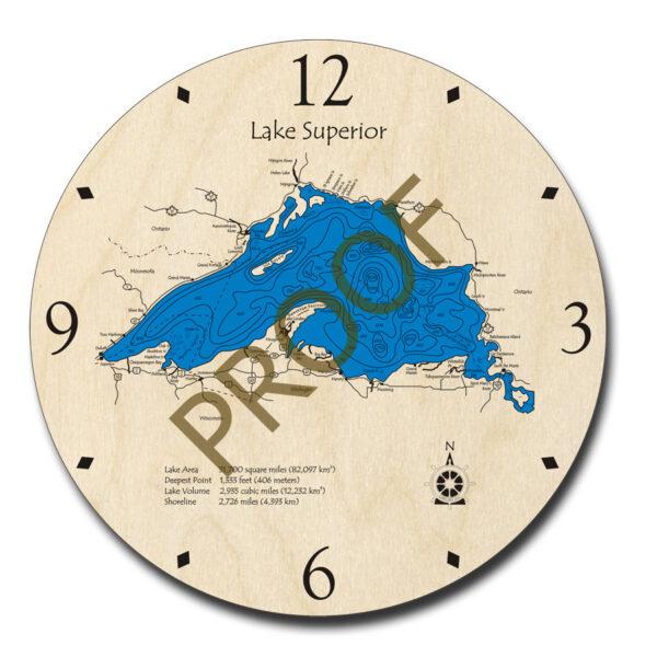 Lake Superior Wooden Clock, 3D Map