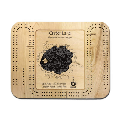 Crater Lake wood cribbage board, gifts, souvenir