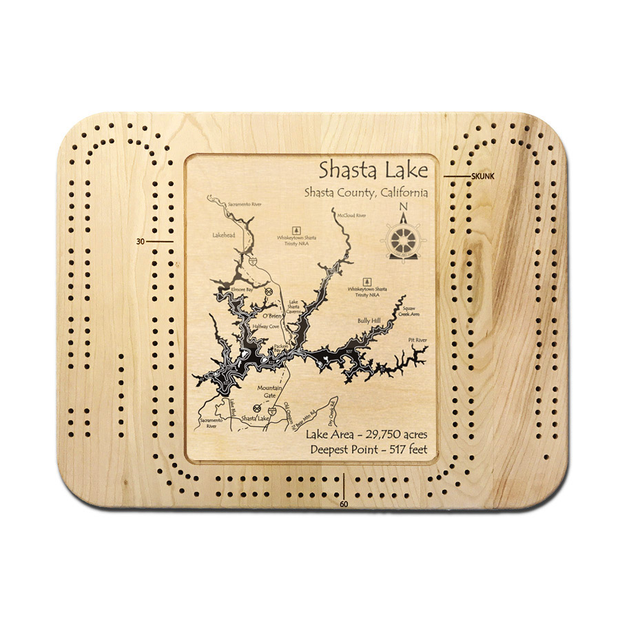 Lake Shasta cribbage board