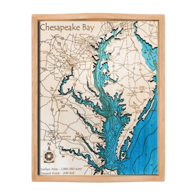 Chesapeake Bay Wood Map Serving Tray