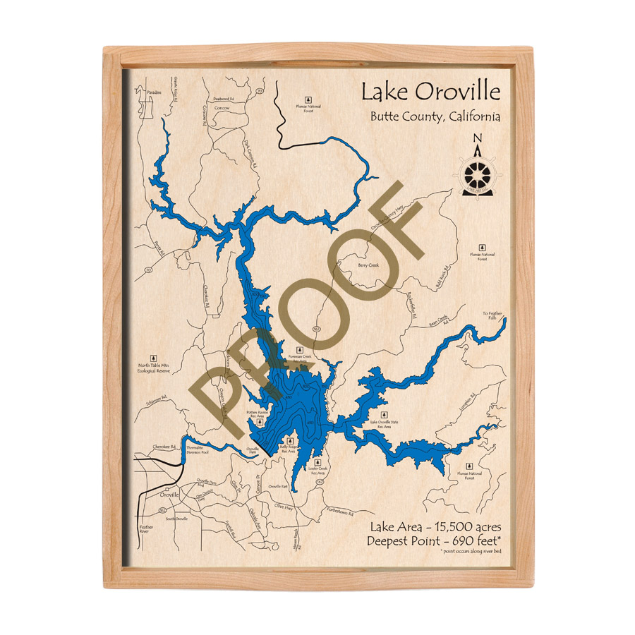California Map Oroville.Lake Oroville Ca 3 D Nautical Wood Map 16 X 20