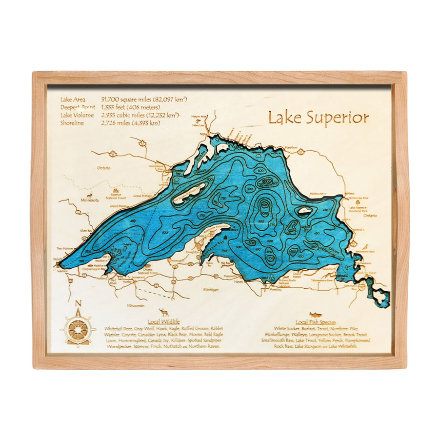 Lake Superior Wood Serving Tray, Home Decor