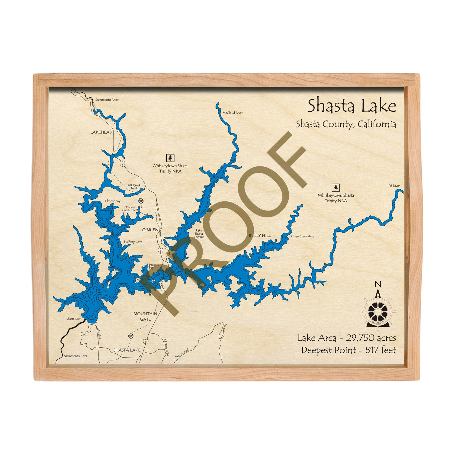 Lake Shasta serving tray