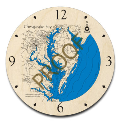 Chesapeake Bay wood map 3d clock