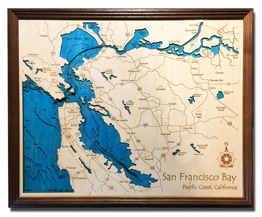 San Francisco Nautical Wood Map