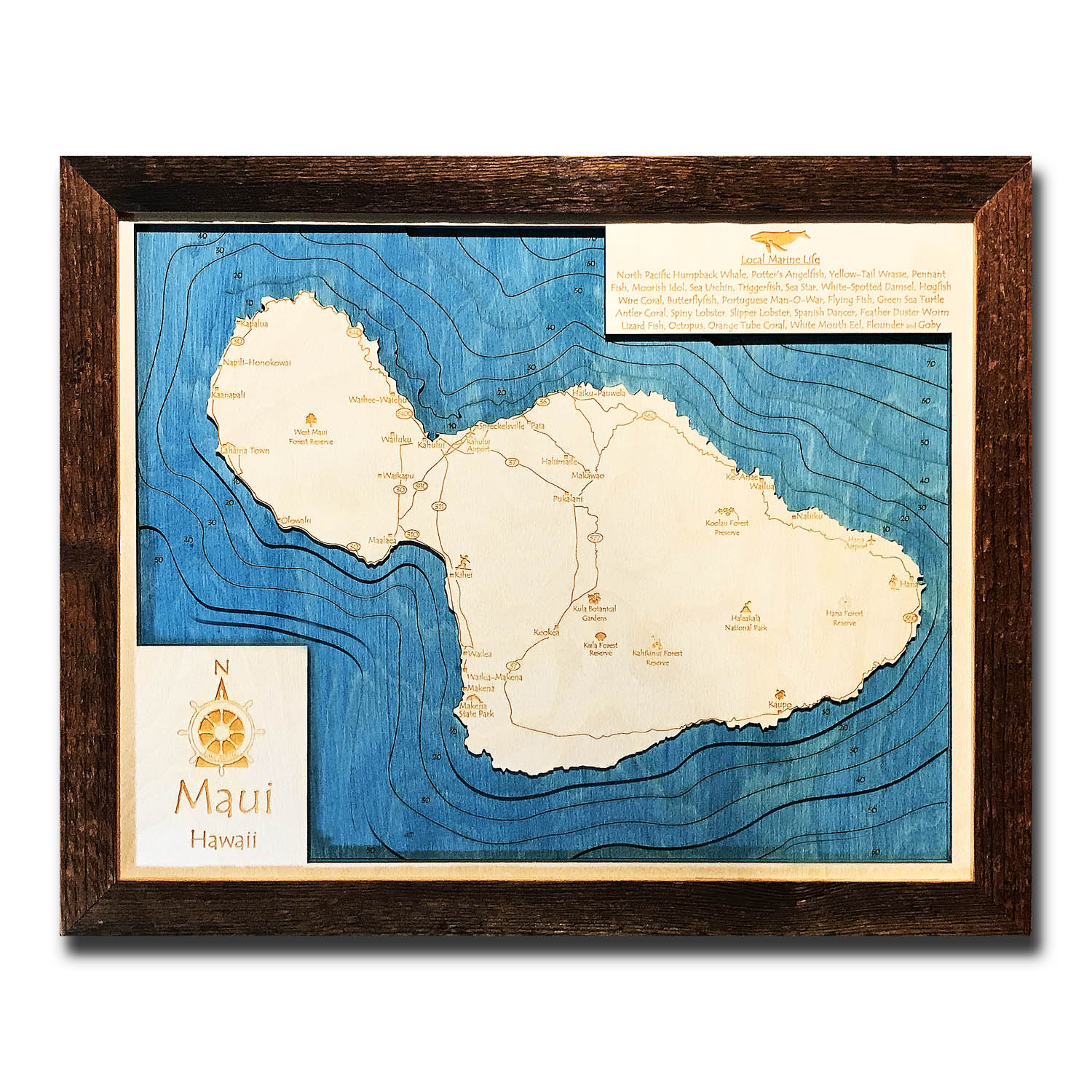Maui Nautical Wood Map