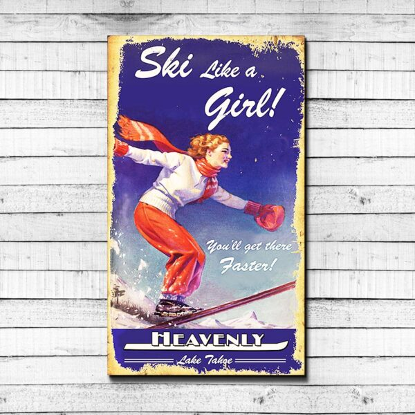 Vintage Ski Sign Heavenly Mountain