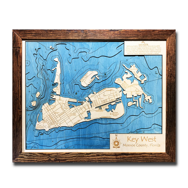 Key West, FL 3-D Nautical Wood Map, 16