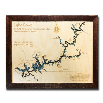 Lake Powell wood map for sale