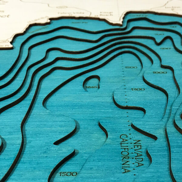 Detailed view of a Lake Tahoe 3D wooden map
