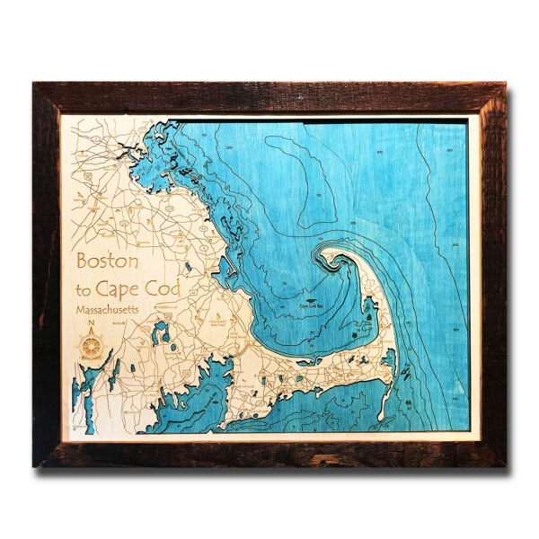 cape cod topographic wood map in 3D