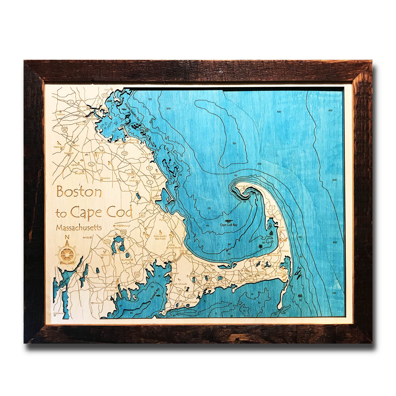 Boston And Cape Cod 3d Wood Map Nautical Wood Topo Chart