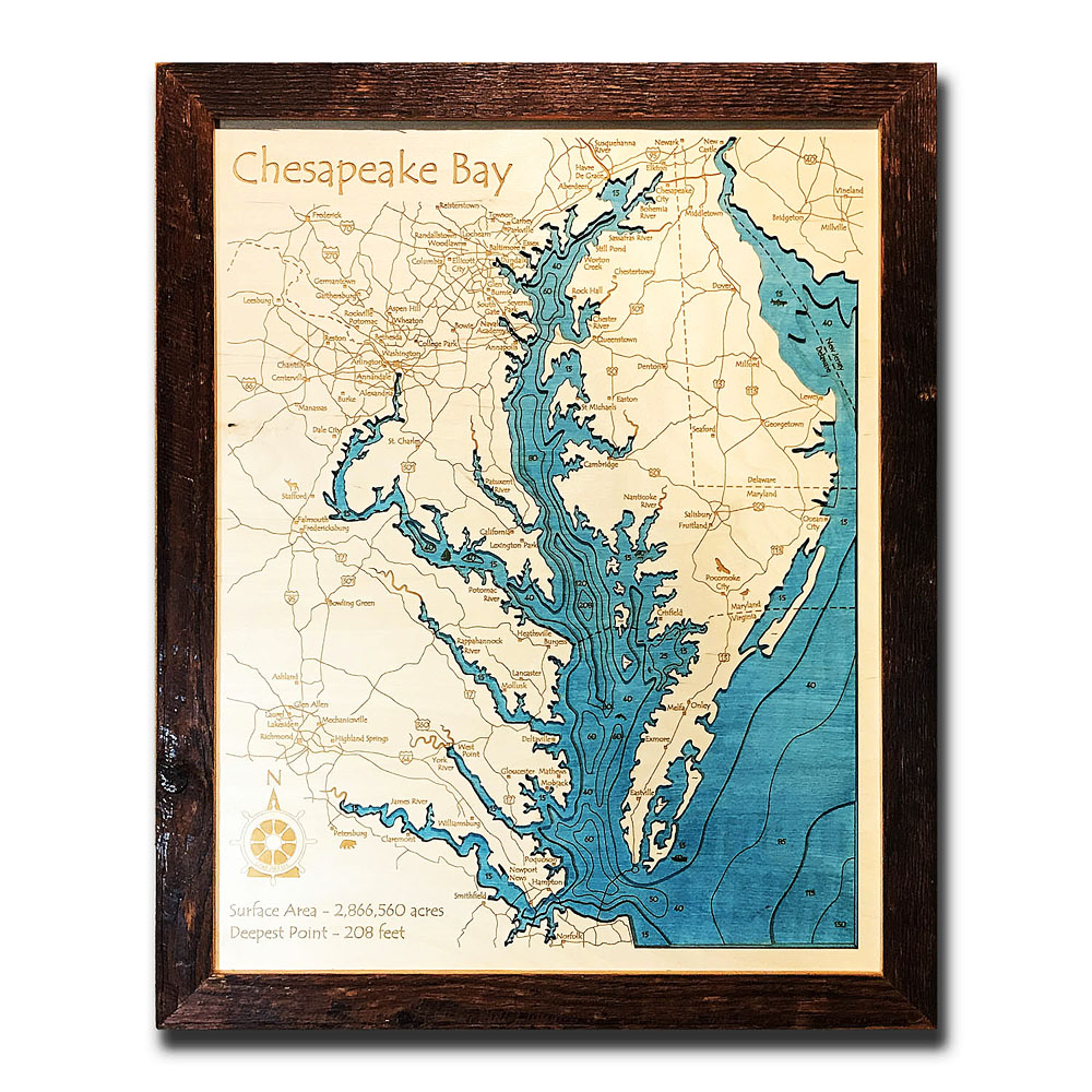 Chesapeake Bay Wood Map 3d Topographic Wood Chart