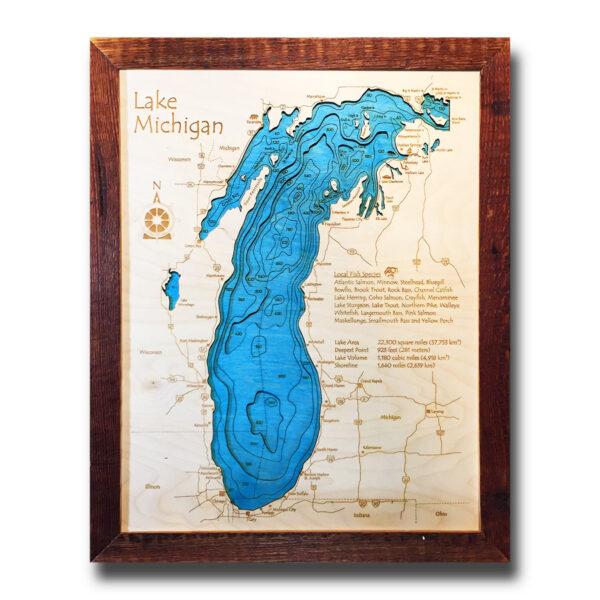 wood map of lake michigan in 3d laser etched