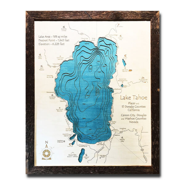 wood map of lake tahoe 3d, Framed, Laser-etched, Birch Wood
