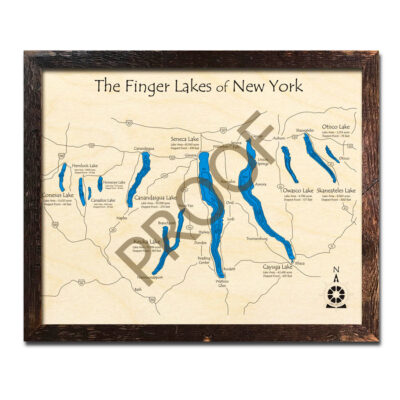 Finger Lakes 3D Wood Maps, Laser-etched Home Decor