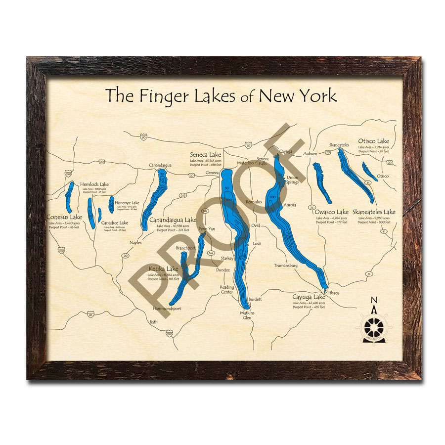 Finger Lakes, NY 3D Wood Maps, Laser-etched Home Decor