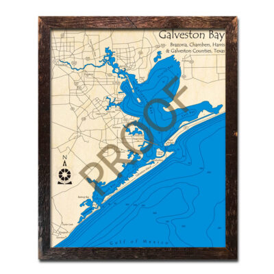 Galveston Bay 3d wood map laser etched posters