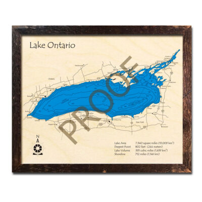 Lake Ontario 3d wood map laser etched poster