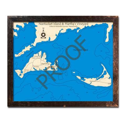 Nantucket Marthas VIneyard 3d wood maps