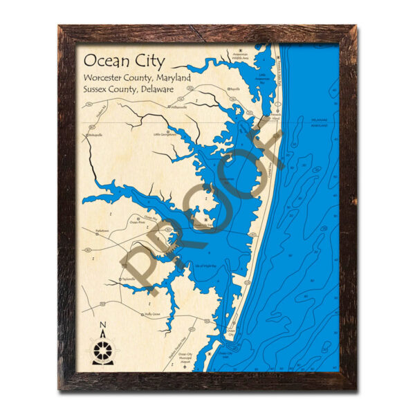 Ocean City wood map 3d laser printed poster wall art