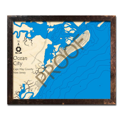 Ocean City NJ 3d Wood Map laser printed poster in 3d