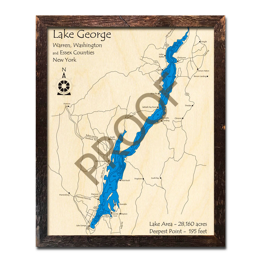 Lake George, NY 3D Wood Maps, Laser-etched Nautical Decor