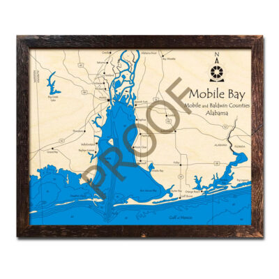 Mobile Bay, AL 3d wood map laser etched poster