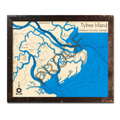 Tybee Island 3d wood maps laser printed poster