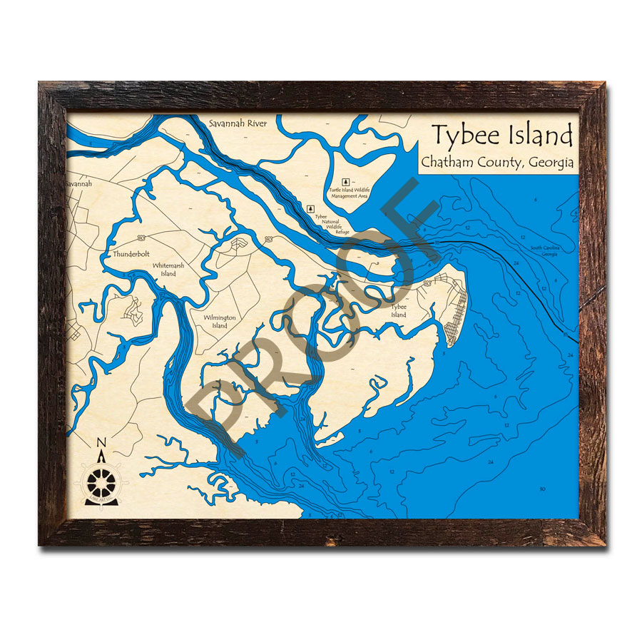 Tybee Island Region, GA 3D Wood Maps, Laser-etched Nautical Decor on