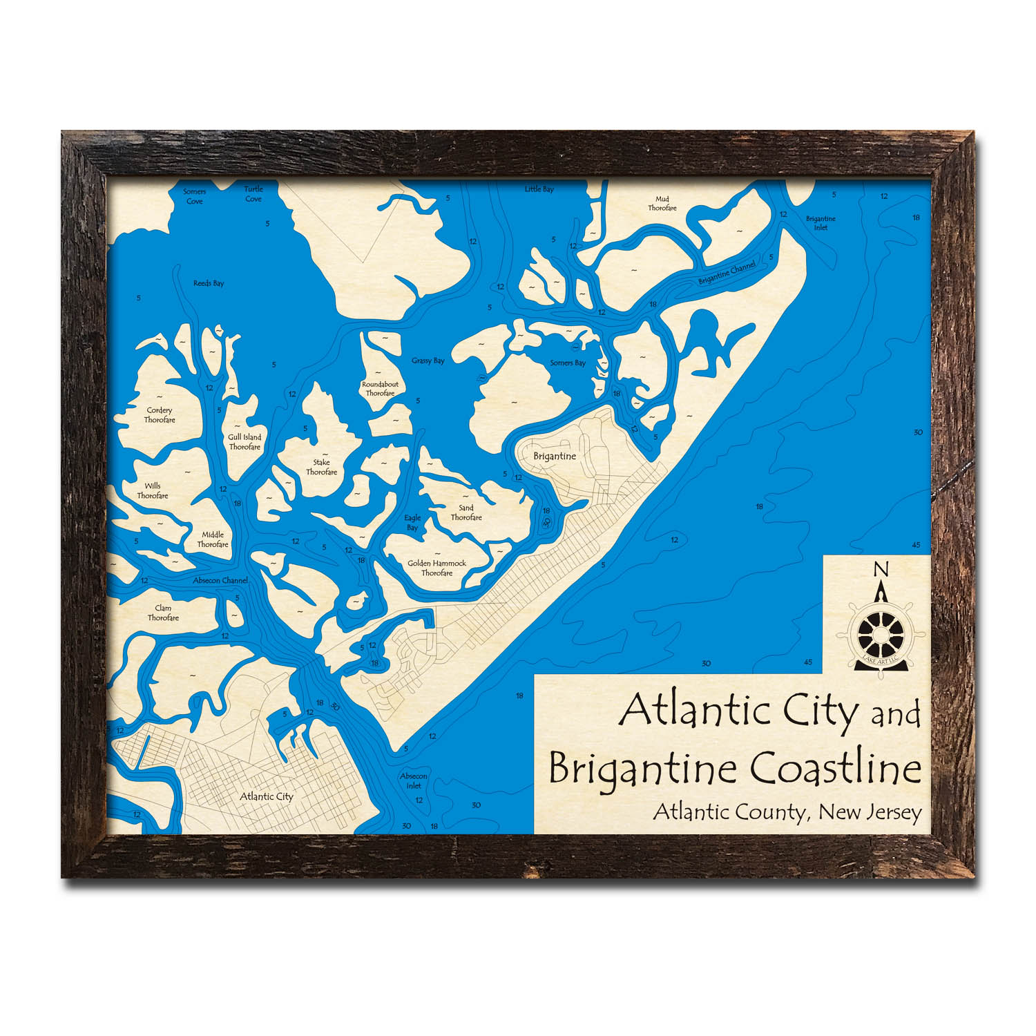 Jersey Shore Atlantic City Wood Map