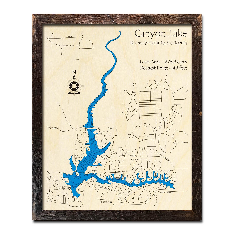 Canyon Lake, CA Nautical Wood Maps on