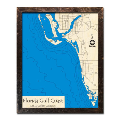 Florida Gulf Coast Wood 3D Map, Fort Myers, Naples, Sanibel Island