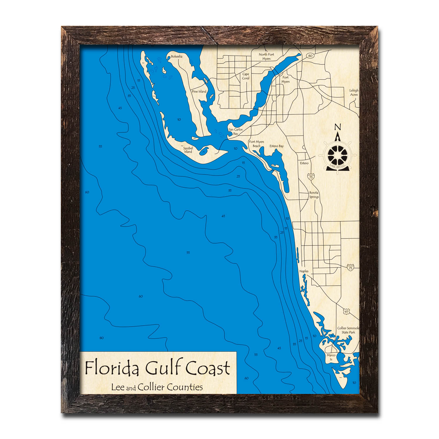 Florida Gulf Coast, FL Nautical Wood Maps