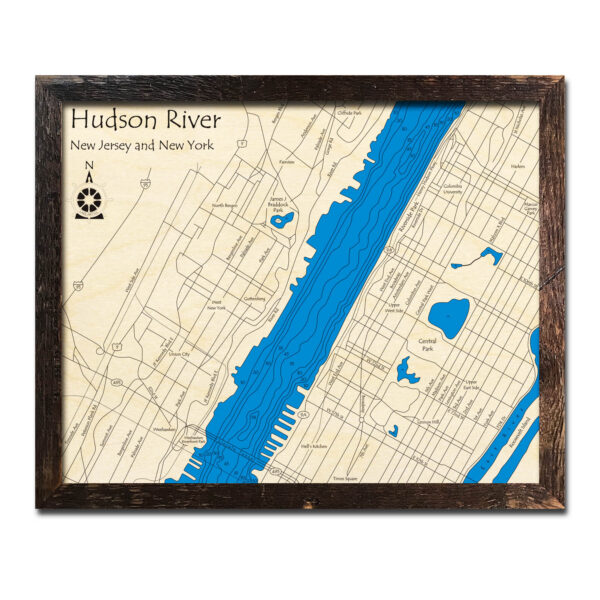 New York City and Jersey City Wood Map