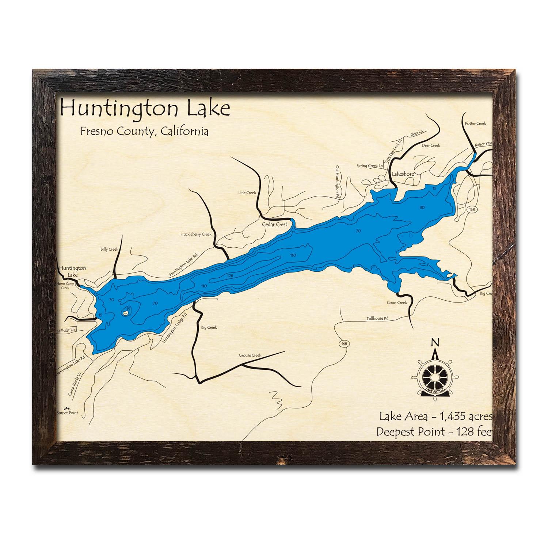 Huntington Lake Ca Nautical Wood Maps