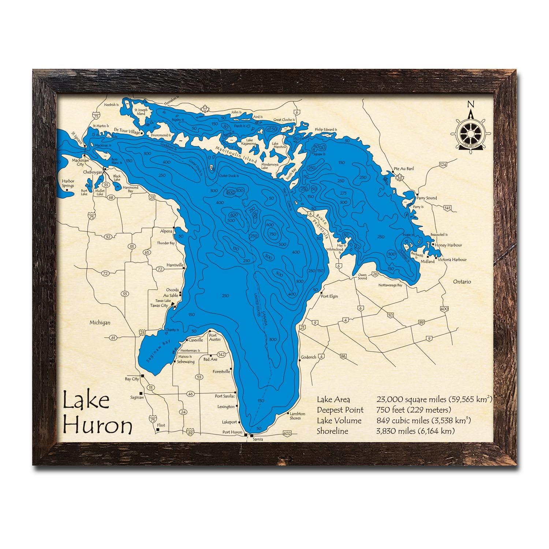 Lake Huron Wood Top Map