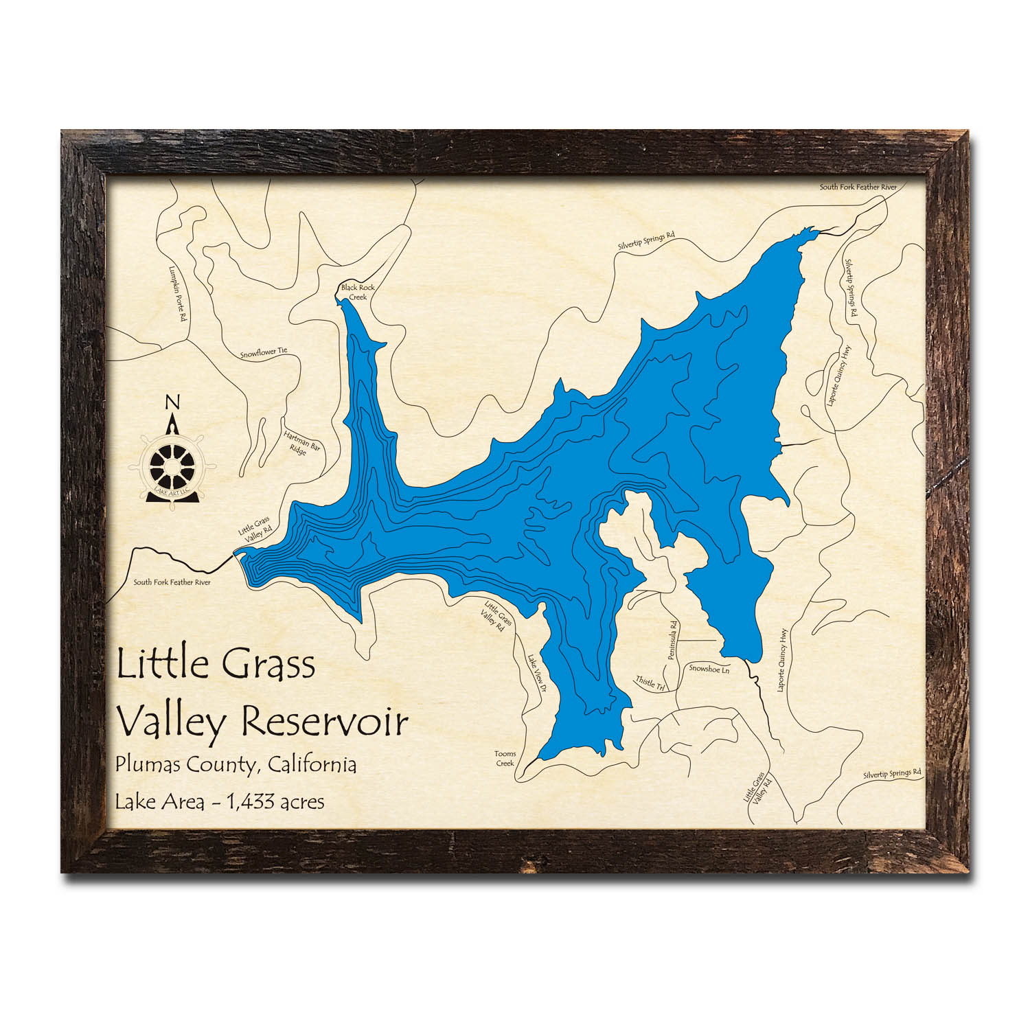 Little Grass Valley Lake, CA Wood Map | 3D Topographic Wooden Charts