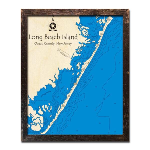 Long Beach Island NJ Wood Map