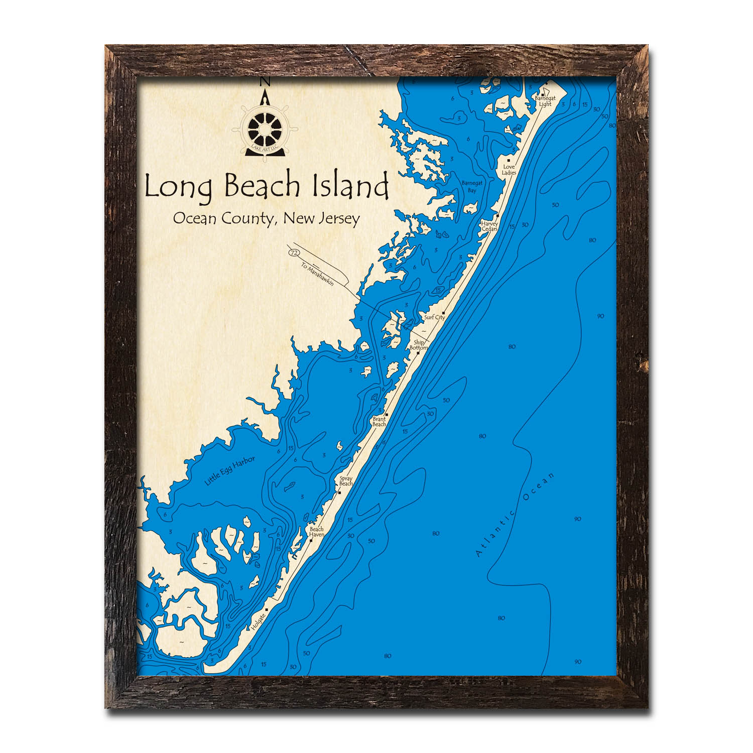 Map Of Long Beach Island Long Beach Island NJ Map | 3D Topographic Wood Chart