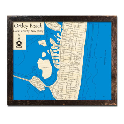 Ortley Beach NJ wood Map at the jersey shore