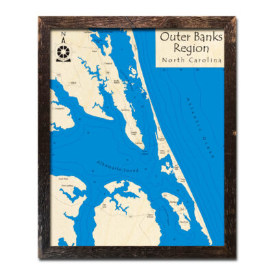 Outer Banks Framed Wood Map in 3D