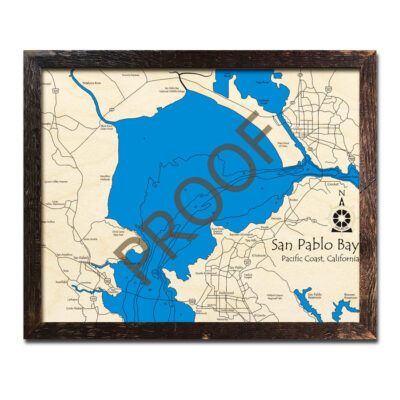 San Pablo - San Francisco Bay wood map poster