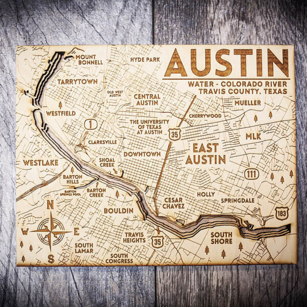 Austin 3D wood Map, home decor, gifts