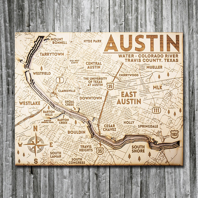 Austin Texas Wooden Map 3d