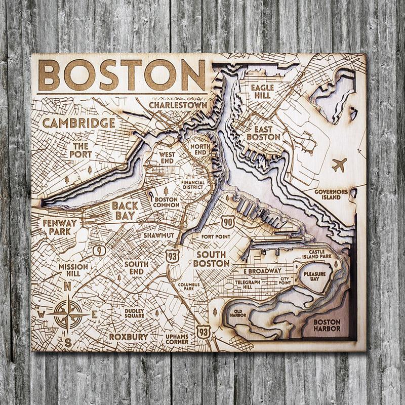 Boston wooden map, 3D nautical chart