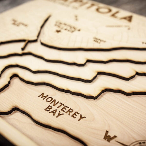 Capitola Topo Map in Wood
