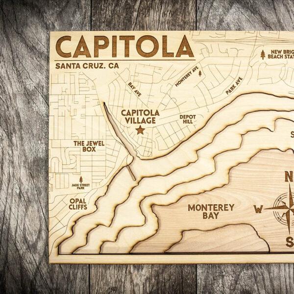 Capitola California Coast Wood Map