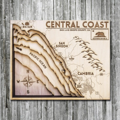 California Coast 3d Wooden map