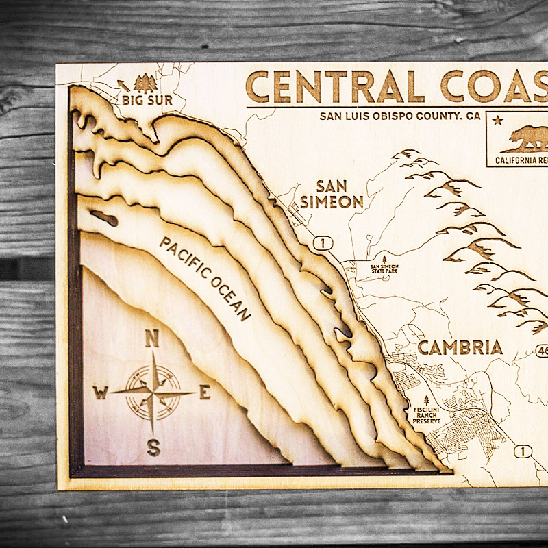 California Central Coast map for sale